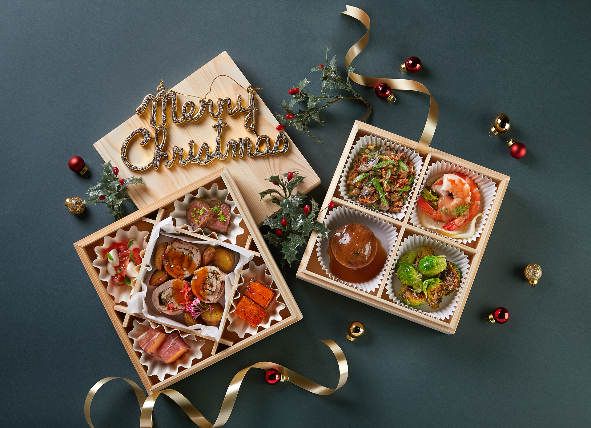 Gourmet Meal in Wooden Bento Boxes Consisting of 9 Dishes on-top a Christmas Festive Background