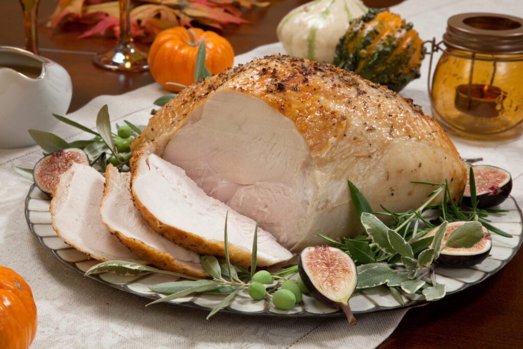 Tender turkey breast brined and smoked with a flavourful chestnut stuffing made with finely chopped chestnuts and mushrooms and fresh thyme.