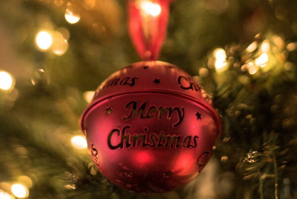 """Red Christmas ball with """"Merry Christmas"""" engraving"""