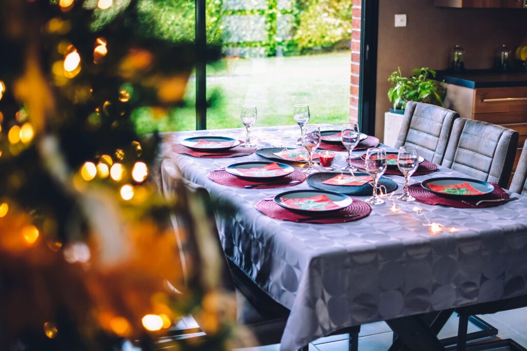 Table set for Christmas dinner with family and friends