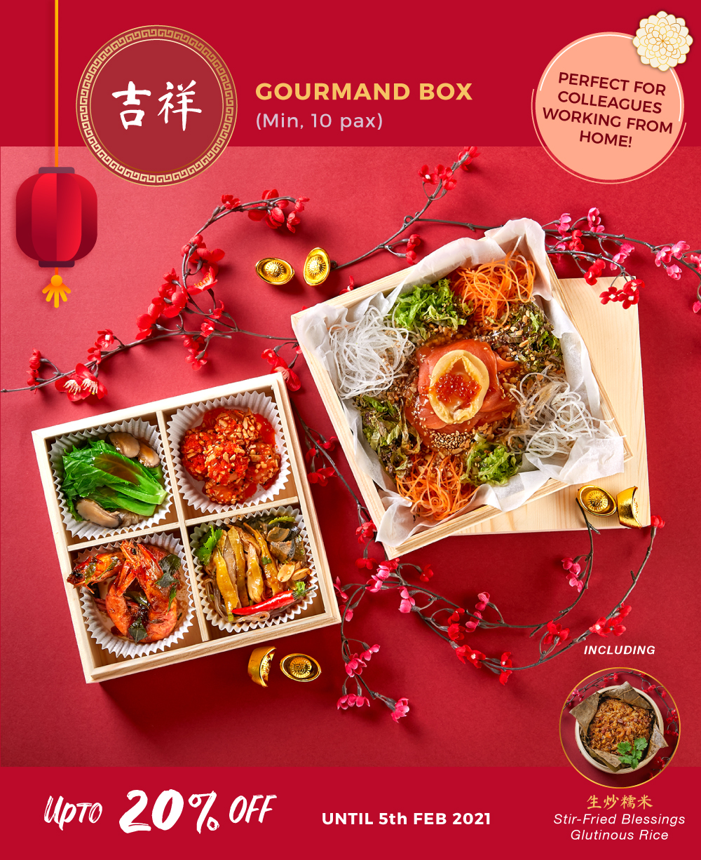 Special promotion for cny feast gourmand box for min 10 pax up to 20% off until 5 feb 2021